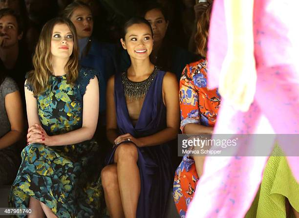 Gillian Jacobs Jamie Chung and Mary Elizabeth Winstead attend the Monique Lhuillier Spring 2016 during New York Fashion Week The Shows at The Arc...
