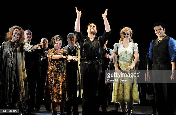 Gillian Kirkpatrick Imelda Staunton Michael Ball Lucy May Barker and Luke Brady bow at the curtain call during the press night performance of...