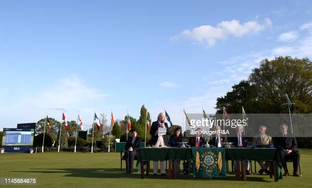 Gillian Kirkwood, President of the Ladies Golf Union addresses the audience during the final round of the R&A Girls U16 Amateur Championship at...