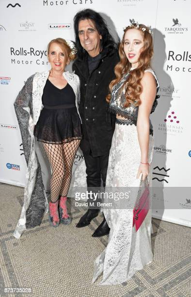 Gillian McKeith Alice Cooper and Afton McKeithMagaziner attend the unveiling of 'The Adoration Trilogy Searching For Apollo' by Alistair Morrison...
