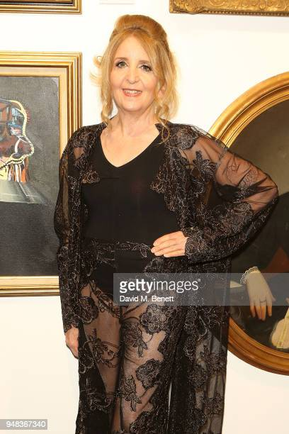 Gillian McKeith attends a private view of 'Keep Smiling' a new exhibition by Mr Brainwash at Maddox Gallery Westbourne Grove on April 18 2018 in...