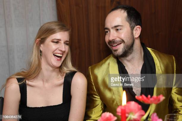 Gillian Orr and Edwin Bodson attend Alexa Chung's CHUNGSGIVING dinner to celebrate Thanksgiving and the launch of her exclusive ALEXACHUNG holiday...
