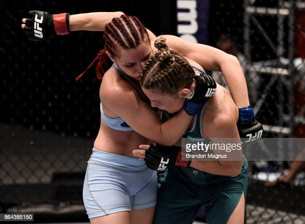 Gillian Robertson collides with Barb Honchak during the filming of The Ultimate Fighter A New World Champion at the UFC TUF Gym on July 31 2017 in...