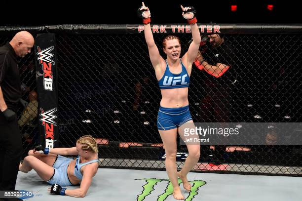 Gillian Robertson of Canada celebrates after her submission victory over Emily Whitmire in their women's flyweight bout during the TUF Finale event...