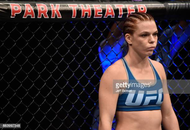 Gillian Robertson of Canada prepares to face Emily Whitmire in their women's flyweight bout during the TUF Finale event inside Park Theater on...