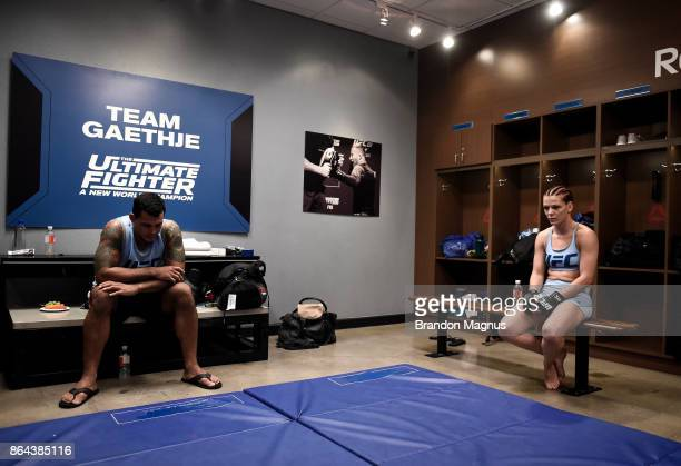 Gillian Robertson warms up before facing Barb Honchak during the filming of The Ultimate Fighter A New World Champion at the UFC TUF Gym on July 31...