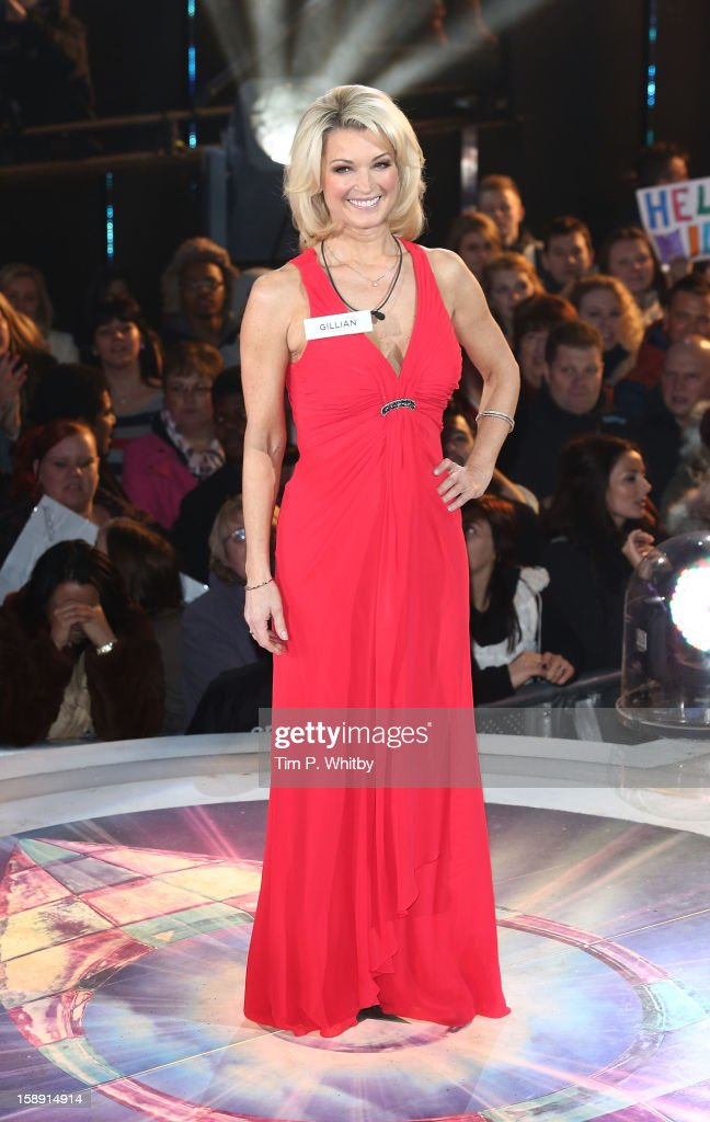 Gillian Taylforth enters the Celebrity Big Brother House at Elstree Studios on January 3, 2013 in Borehamwood, England.