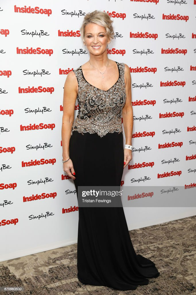 Gillian Taylforth, winner of the Outstanding Achievement award, attends the Inside Soap Awards held at The Hippodrome on November 6, 2017 in London, England.