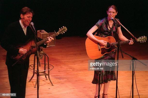 Gillian Welch right and David Rawlings performing at Town Hall on Thursday night August 2 2001