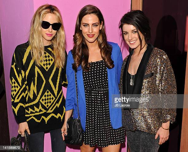 Gillian Zinser Jessica Lowndes and Shenae Grimes attend the 90210 Season 4 Wrap Party at Pink Taco on March 18 2012 in Los Angeles California