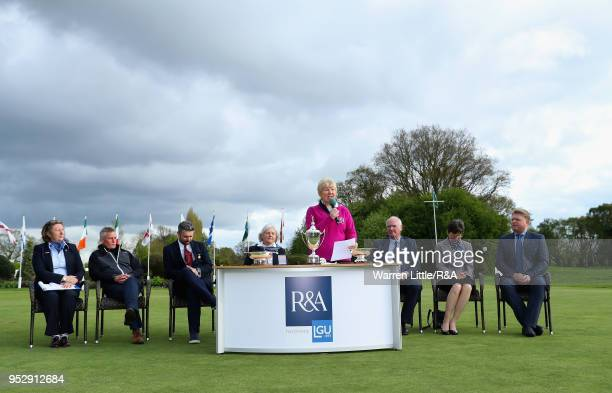 Gillie Allison Club Captain speaks after the final round of the Girls' U16 Open Championship at Fulford Golf Club on April 29 2018 in York England