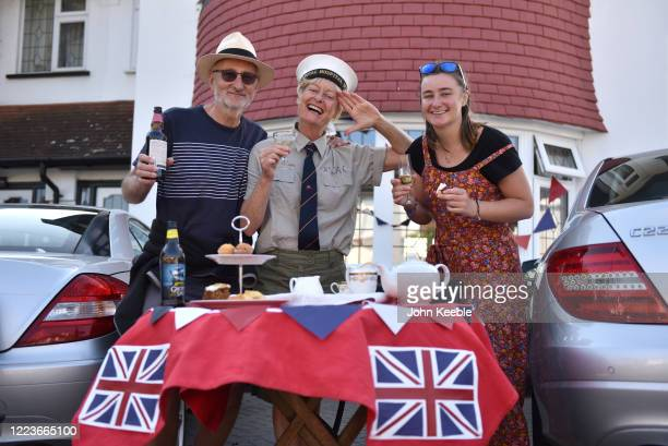 Gillie Tomkys and family enjoy a social distancing VE day street party on May 08 2020 in Leigh on Sea England The UK commemorates the 75th...