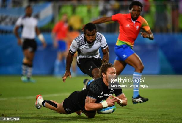 Gillies Kaka of New Zeland chases down his own kick to score a try during the Men's Rugby Sevens quarter final match between Fiji and New Zealand on...