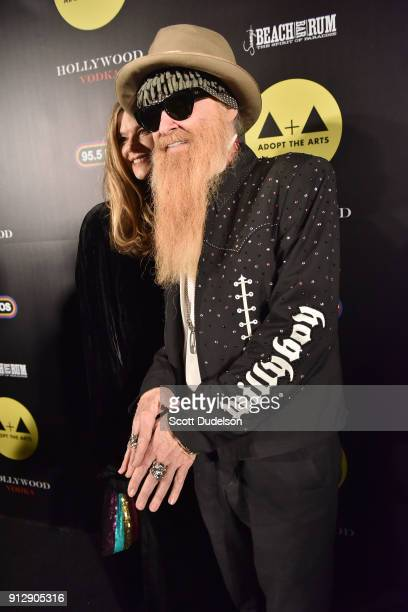 Gilligan Stillwater and Billy Gibbons of ZZ Top attend the Adopt the Arts annual rock gala at Avalon Hollywood on January 31 2018 in Los Angeles...
