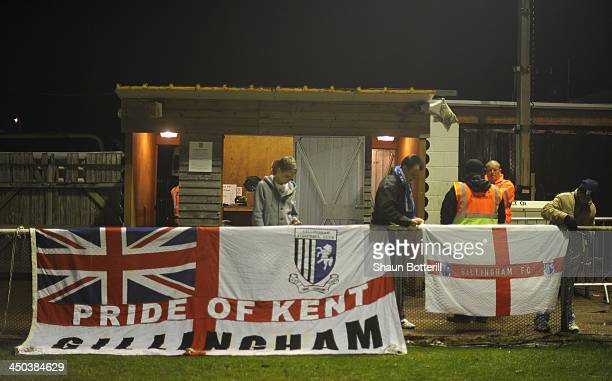 Gillingham fans arrive before the FA Cup First Round Replay match between Brackley Town and Gillingham at St James Park on November 18 2013 in...