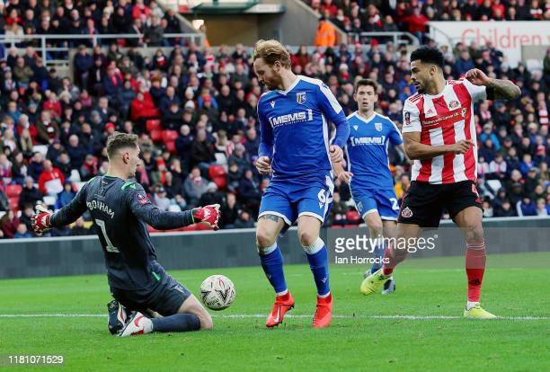 Gillingham keeper Nathan Bishop makes a save during the FA Cup First Round match between Sunderland and Gillingham at Stadium of Light on November 9...
