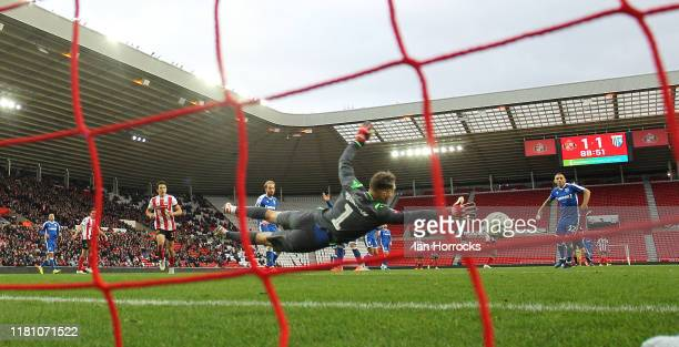 Gillingham keeper Nathan Bishop makes a save to Aiden Mcgeady late in the game during the FA Cup First Round match between Sunderland and Gillingham...