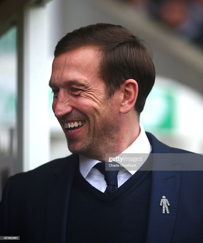 Gillingham manager Justin Edinburgh during the Sky Bet League One match between Crawley Town and Gillingham at The Checkatrade.com Stadium on March 28, 2015 in Crawley, England.