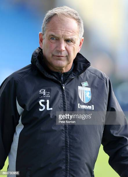 Gillingham manager Steve Lovell looks on prior to the Sky Bet League One match between Gillingham and Northampton Town at Priestfield Stadium on...