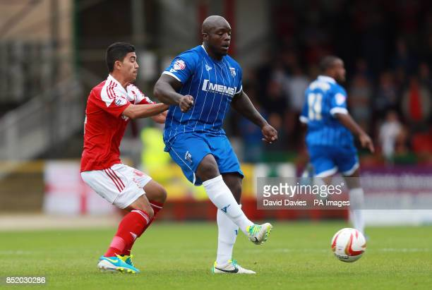 Gillingham's Adebayo Akinfenwa during the Sky Bet Football League One match at the County Ground Swindon