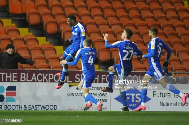 Gillingham's Brandon Hanlan celebrates scoring his side's third goal during the Sky Bet League One match between Blackpool and Gillingham at...