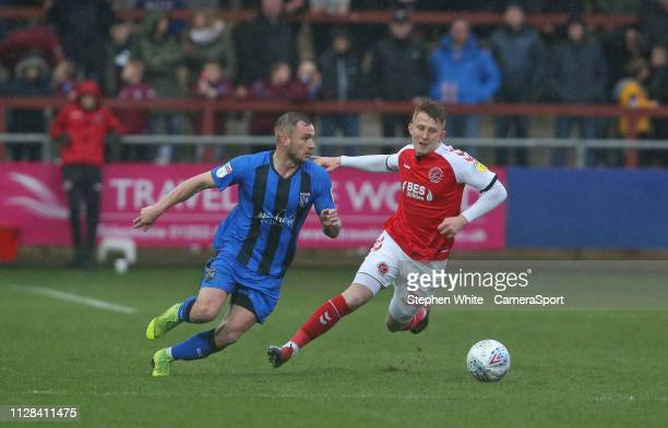 Gillingham's Dean Parrett and Fleetwood Town's Gerard Garner during the Sky Bet League One match between Fleetwood Town and Gillingham at Highbury...
