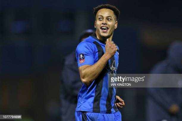 Gillingham's English midfielder Elliott List celebrates on the pitch after the English FA Cup third round football match between Gillingham and...