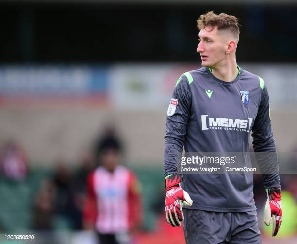 Gillingham's Jack Bonham during the Sky Bet League One match between Lincoln City and Gillingham at LNER Stadium on February 22 2020 in Lincoln...