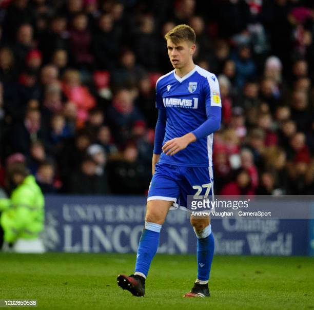 Gillingham's Jack Tucker during the Sky Bet League One match between Lincoln City and Gillingham at LNER Stadium on February 22 2020 in Lincoln...