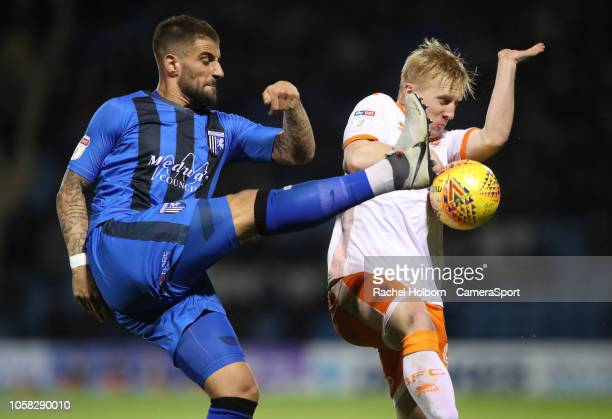 Gillingham's Max Ehmer and Blackpool's Mark Cullen during the Sky Bet League One match between Gillingham and Blackpool at Priestfield Stadium on...