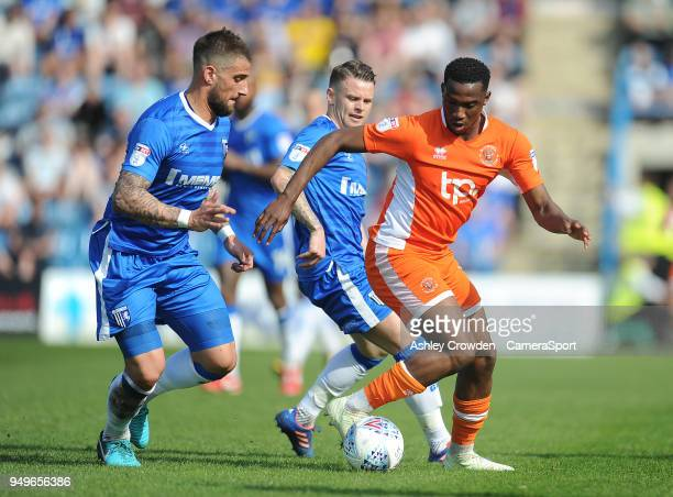 Gillingham's Max Ehmer battles with Blackpool's Viv SolomonOtabor during the Sky Bet League One match between Gillingham and Blackpool at Priestfield...