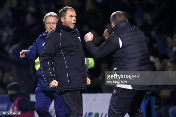 Gillingham's Welsh manager Steve Lovell celebrates their win at the final whistle in the English FA Cup third round football match between Gillingham...