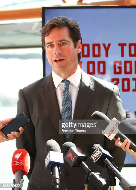CEO Gillon McLachlan addresses the media during the NSW Celebration of the 2018 Toyota AFL Premiership Season at The Sydney Opera House on March 28...