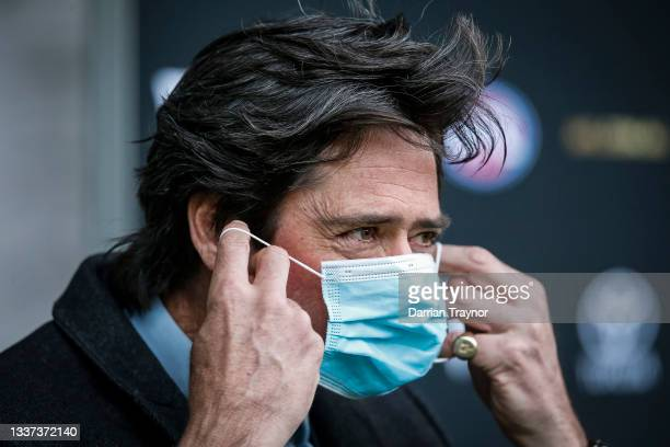 Gillon McLachlan adjusts his face mask during an AFL press conference at Marvel Stadium on August 31, 2021 in Melbourne, Australia.