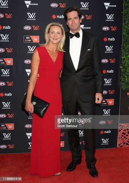 Gillon McLachlan and his wife Laura Blythe arrive ahead of the 2019 AFLW W Awards at The Peninsula on April 02 2019 in Melbourne Australia