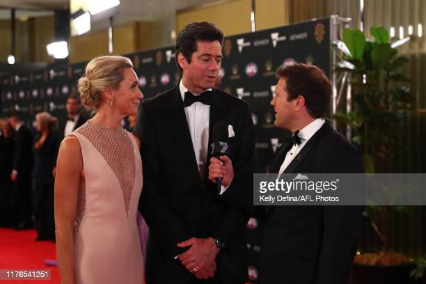 Gillon McLachlan and his wife Laura McLachlan arrive ahead of the 2019 Brownlow Medal at Crown Palladium on September 23 2019 in Melbourne Australia