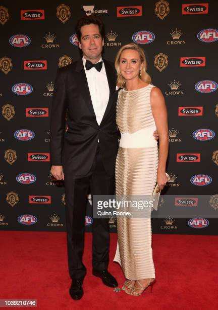 Gillon McLachlan and his wife Laura McLachlan arrives ahead of the 2018 Brownlow Medal at Crown Entertainment Complex on September 24 2018 in...