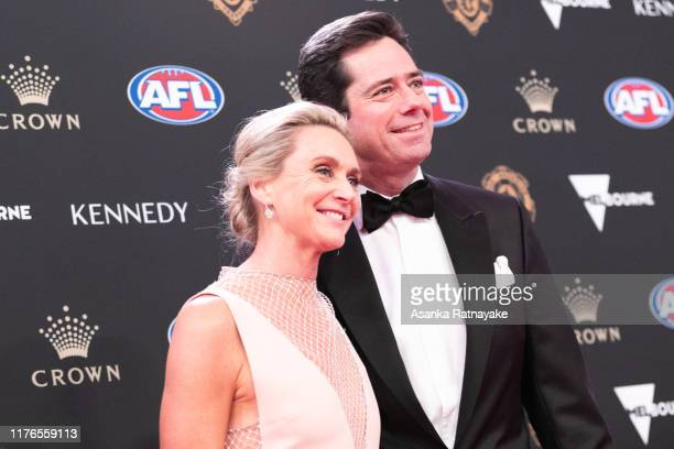 Gillon McLachlan and his wife Laura McLachlan arrives ahead of the 2019 Brownlow Medal at Crown Palladium on September 23 2019 in Melbourne Australia