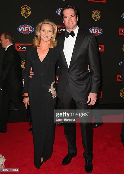 Gillon McLachlan and his wife Laura McLachlan attend the 2014 Brownlow Medal at Crown Palladium on September 22 2014 in Melbourne Australia