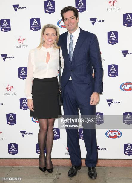 Gillon McLachlan and his wife Laura McLachlan during the 2018 AFL AllAustralia Awards at the Palais Theatre on August 29 2018 in Melbourne Australia