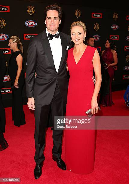 Gillon McLachlan and Laura McLachlan arrive at the 2015 Brownlow Medal at Crown Palladium on September 28 2015 in Melbourne Australia