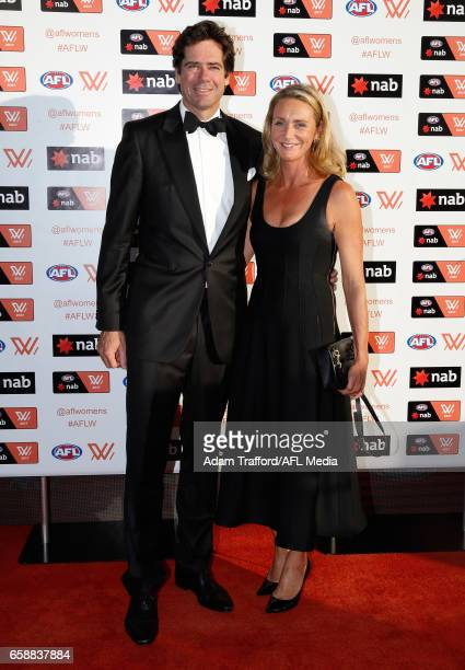 Gillon McLachlan and wife Laura arrive during the The W Awards at the Peninsula on March 28 2017 in Melbourne Australia