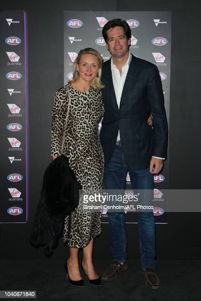 Gillon McLachlan and wife Laura attend the Virgin Australia AFL Grand Final Party at BOND Bar on September 26 2018 in Melbourne Australia