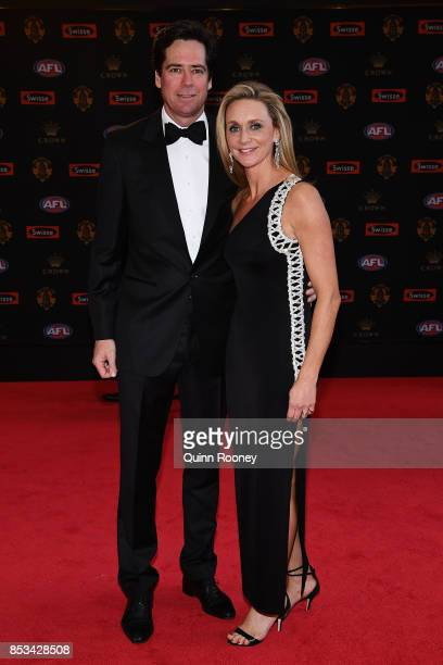 Gillon McLachlan and wife Laura McLachlan arrive ahead of the 2017 Brownlow Medal at Crown Entertainment Complex on September 25 2017 in Melbourne...