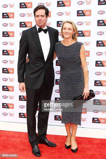 Gillon McLachlan and wife Laura McLachlan pose ahead of the 2018 AFW Awards at The Peninsula on March 27 2018 in Melbourne Australia