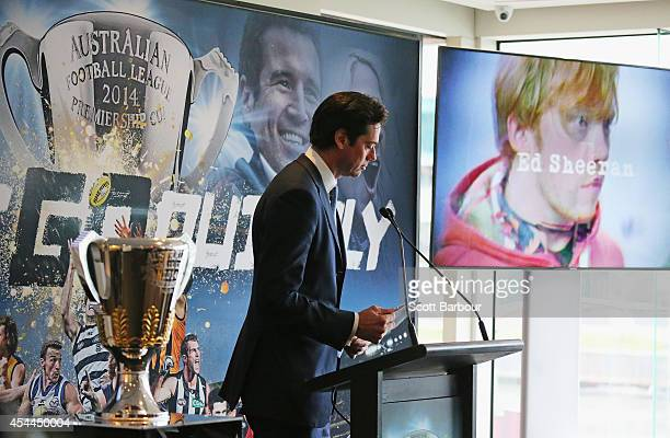 Gillon McLachlan announces that musician Ed Sheeran will perform on Grand Final day during the AFL Premiership Cup handover on September 1 2014 in...