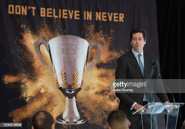 Gillon McLachlan Chief Executive Officer of the AFL addresses the media during the 2018 Toyota AFL Finals Series Launch at Toyota CHQ Port Melbourne...