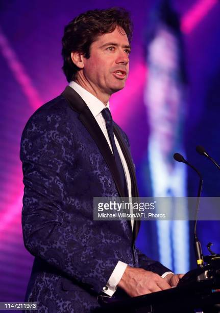 Gillon McLachlan, Chief Executive Officer of the AFL addresses the gathering during the Port Adelaide and St Kilda Shanghai Match Gala Dinner at St...