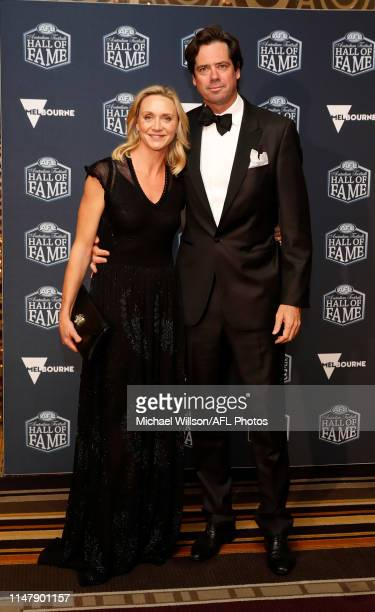 Gillon McLachlan Chief Executive Officer of the AFL and his wife Laura McLachlan arrive at the 2019 Australian Football Hall of Fame Dinner at Crown...