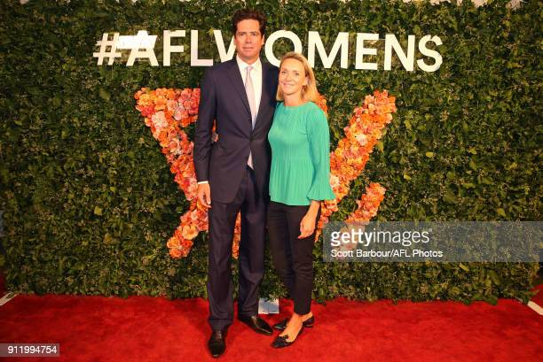 Gillon McLachlan Chief Executive Officer of the AFL and his wife Laura McLachlan attend the 2018 AFLW Season Launch on January 30 2018 in Melbourne...
